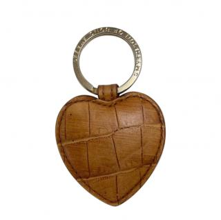Smythson Tan Croc Embossed Heart Key Ring