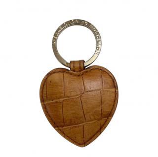 Smythson Tan Croc Embossed Heart Key Ring