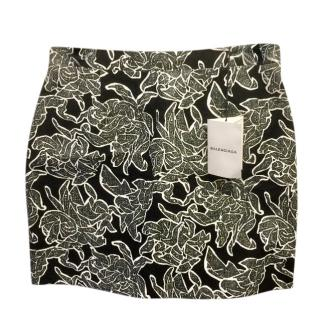 Balenciaga Black & White Floral Mini Skirt
