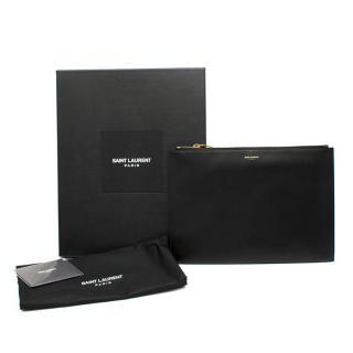 Saint Laurent Black Large Lambskin Leather Pouch