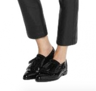 Lanvin Black Patent Loafers with Tassels