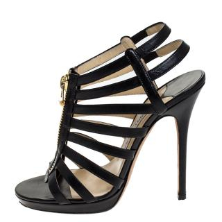 Jimmy Choo Black Leather Glenys Caged Pumps