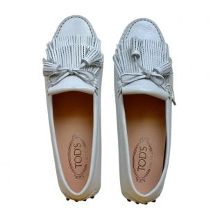 Tod's White Textured Leather Fringed Loafers