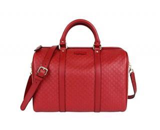 Gucci Red Guccissima Leather Boston Bag