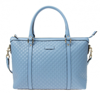 Gucci Leather Micro GG Sky Blue Convertible Bag