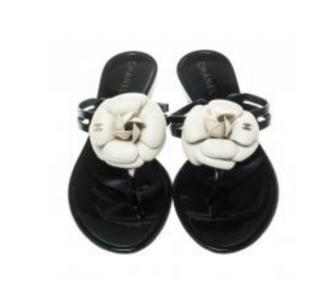Chanel Black Camellia Thong Sandals