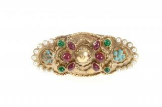 Chanel Gold tone Crystal & Faux Pearl Byzantine Ring - Size 53
