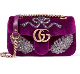 Gucci GG Marmont Mini Embellished Velvet Shoulder Bag