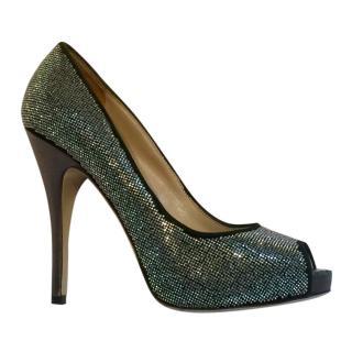 Valentino Silver Glitter Pumps