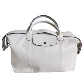 Longchamp Large Chalk White Leather Tote Bag