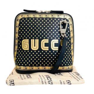 Gucci Black & Gold GUCCY Print Mini Crossbody Bag