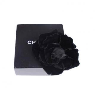 Chanel Black Velvet Camellia Pin Brooch