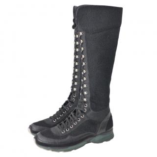 Chanel Black Tweed & Leather Lace-Up Tall Sneaker Boots