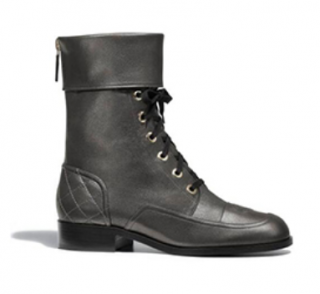Chanel Metallic Leather Lace-Up Combat Boots