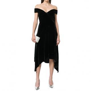 Peter Pilotto Black Velvet Off Shoulder Dress