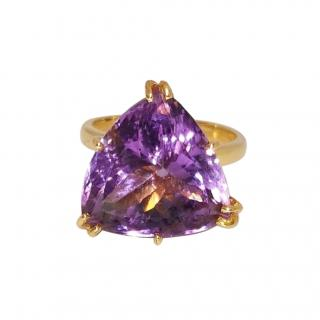 Bespoke 14ct Yellow Gold Large Amethyst Cocktail Ring