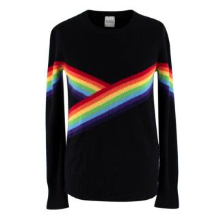 Madeleine Thompson Black Bebe Rainbow Cashmere Knit Jumper