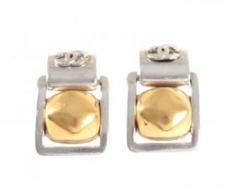 Chanel Silver & Gold Tone CC Drop Earrings