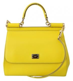 Dolce & Gabbana Yellow Sicily Leather Tote Bag