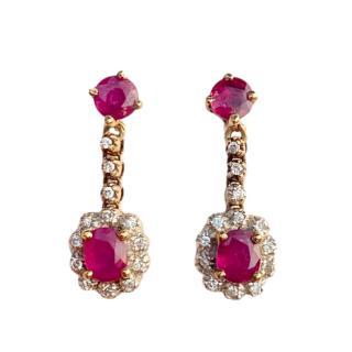 Bespoke Gold Diamond & Ruby Drop Earrings
