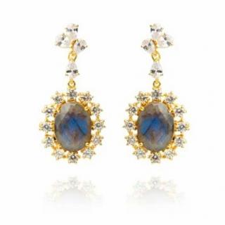 Opuline Laboradite Crystal Drop Earrings