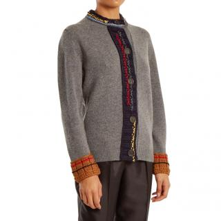 Prada Wool Contrast Trim Grey Cardigan