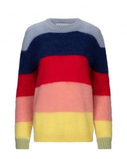 Etre Cecile Rainbow Stripe Mohair Blend Boxy Knit Sweater