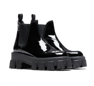 Prada monolith patent leather booties
