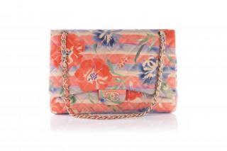 Chanel Coral Flowers Tropical Jumbo Flap Bag