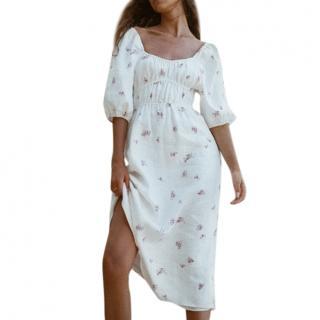 Turquoise Lane The Label White Rose Pippa Linen Midi Dress
