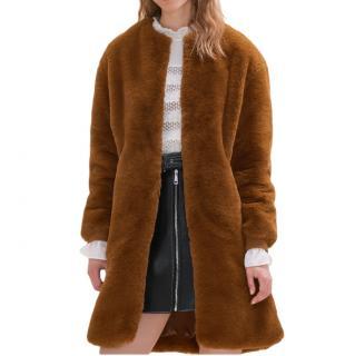Maje Brown Gemila Faux Fur Teddy Coat