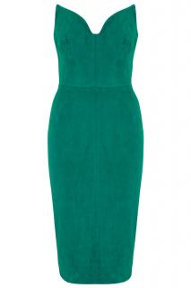 Jitrois Green Suede Strapless Cocktail Dress