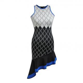 David Koma Diamond Pattern Ruffle Sleeveless Dress