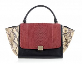 Celine Natural/Burgundy Python & Black Leather Trapeze Bag