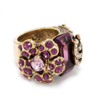 Chanel Gold Tone Flower & CC Purple Crystal Ring - Size 53-54