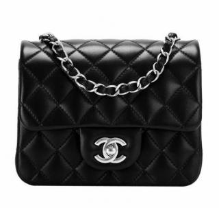Chanel Black Lambskin Mini Square Flap Bag