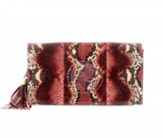 Gucci Red Python Soho Tassel Clutch
