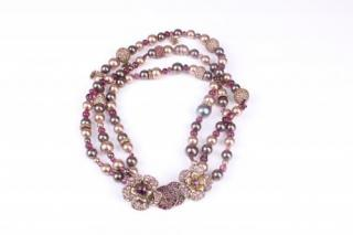 Chanel Violet Faux Pearl Crystal Camellia Three-Strand Necklace