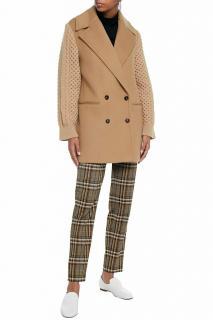 Stella McCartney Wool Blend Cable Knit Sleeve Wool Coat