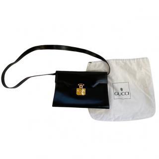 Gucci Black Vintage Leather Padlock Shoulder Bag