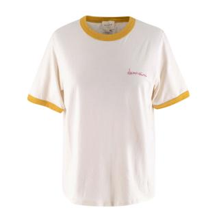 Sezane Beige Demain Embroidered Short Sleeve Cotton T-Shirt