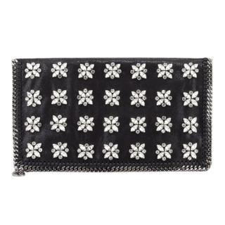 Stella McCartney Black Falabella Crystal Embellished Fold-Over Clutch