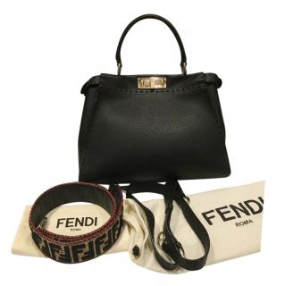 Fendi Black Leather Medium Peekaboo Bag with Raffia Strap You