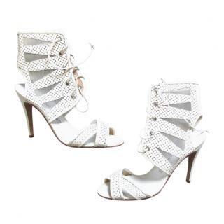 Manolo Blahnik White Lasercut Lace-Up Sandals