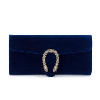 Gucci Blue Velvet Crystal Dionysus Clutch