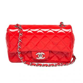 Chanel Red Patent Leather Classic Mini Flap