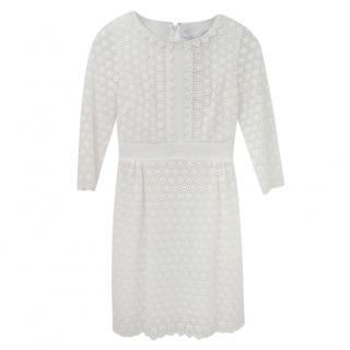 DVF White Lace Long Sleeve Mini Dress
