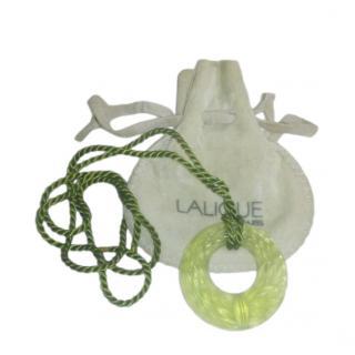 Lalique Vintage Green Wreath Pendant Necklace