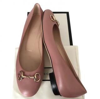 Gucci Antique Rose Leather Horsebit Ballerinas