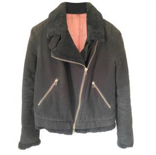 Acne Studios Black Suede Aviator Jacket